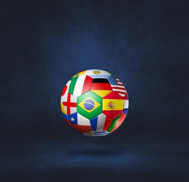 Ballon de football de football avec des drapeaux nationaux isolés sur un bleu foncé. illustration 3d