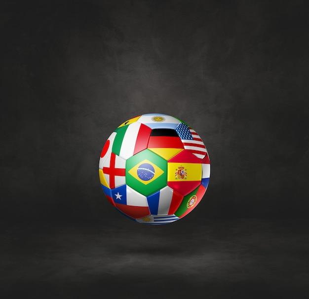Ballon de football de football avec des drapeaux nationaux isolés sur un fond de studio noir. illustration 3d