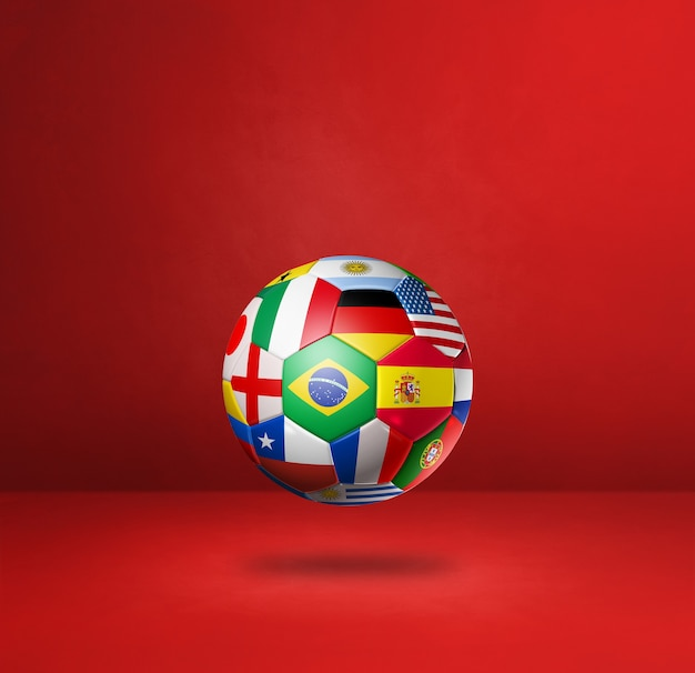Ballon de football de football avec des drapeaux nationaux isolés sur un fond de studio rouge. illustration 3d