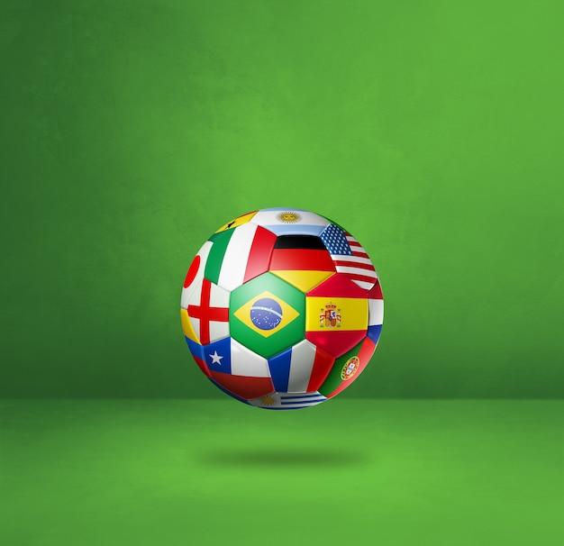 Ballon de football de football avec des drapeaux nationaux isolés sur un fond de studio vert. illustration 3d
