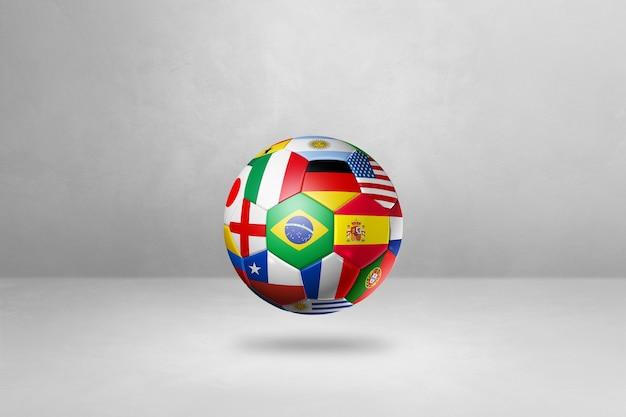 Ballon de football de football avec des drapeaux nationaux isolés sur un fond de studio vide. illustration 3d
