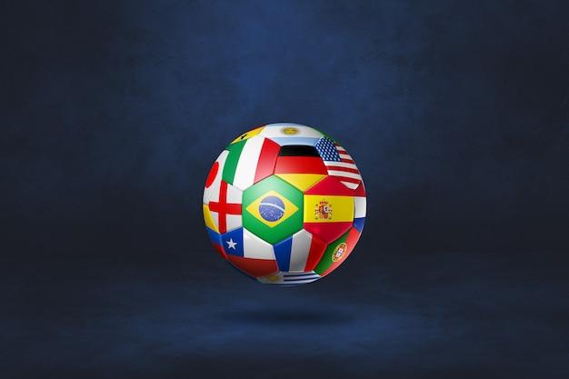 Ballon de football de football avec des drapeaux nationaux isolés sur un studio bleu foncé