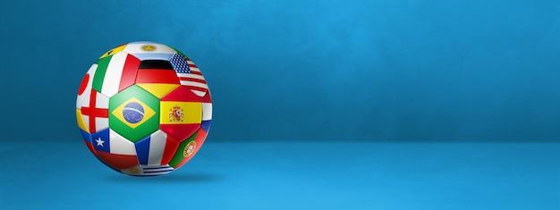 Ballon de football de football avec des drapeaux nationaux sur un mur bleu. illustration 3d