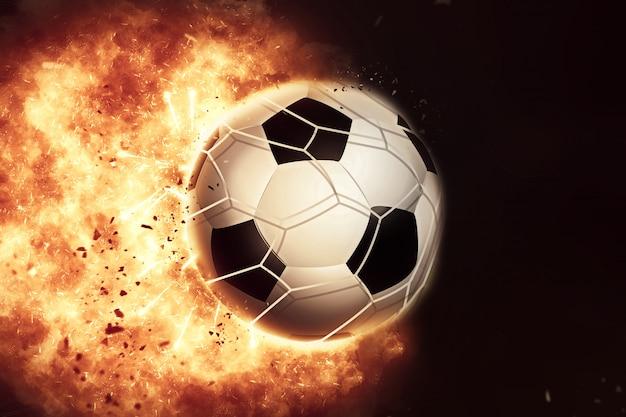 Ballon de football / football enflammé en 3d
