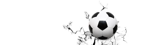 Ballon de football et mur cassé.
