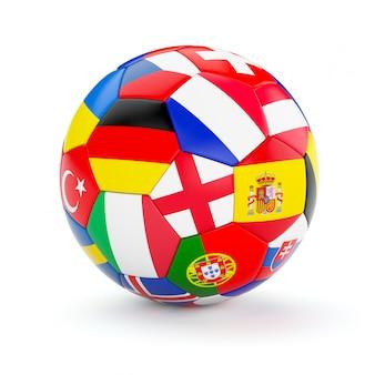 Ballon de football soccer avec des drapeaux des pays européens