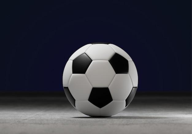 Ballon de football sur le terrain d'un stade de la ville - rendu 3d