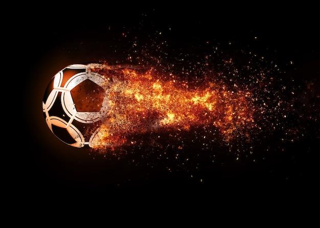 Ballon de football et trace de feu