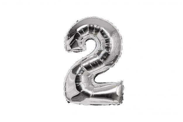 Ballon gonflable en argent numéro deux