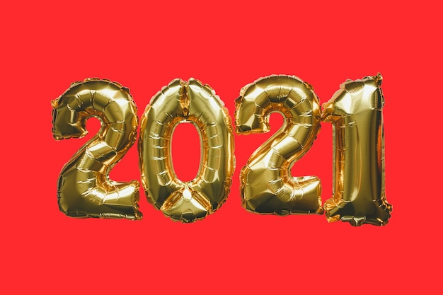 Ballon en métal doré festif avec chiffres sur rouge