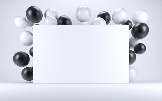 Ballon noir et blanc dans un intérieur blanc autour d'un tableau blanc. rendu 3d