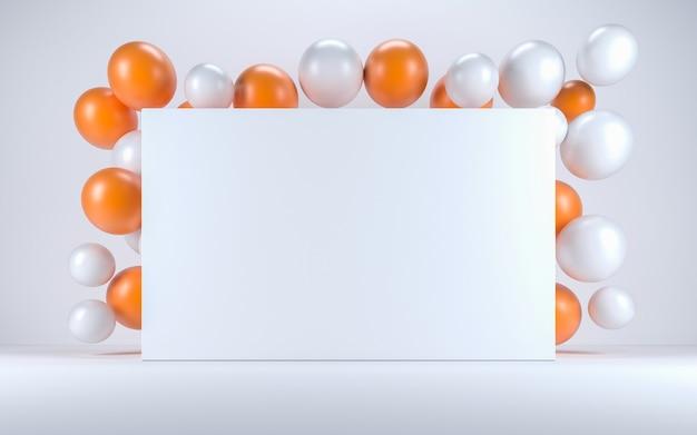 Ballon orange et blanc dans un intérieur blanc autour d'un tableau blanc. rendu 3d