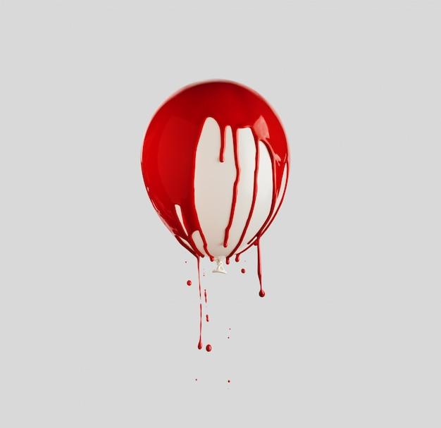 Ballon recouvert de peinture rouge dégoulinant. concept minimal créatif.
