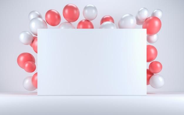 Ballon rose et blanc dans un intérieur blanc autour d'un tableau blanc. rendu 3d