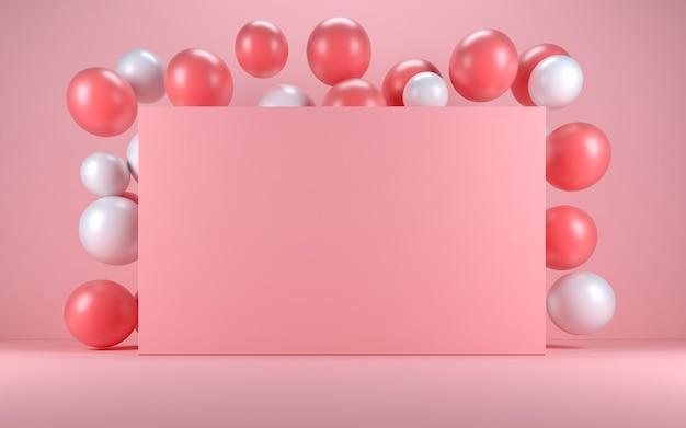 Ballon rose et blanc dans un intérieur rose autour d'un tableau rose. rendu 3d