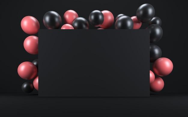 Ballon rose et noir dans un intérieur noir autour d'un tableau noir. rendu 3d