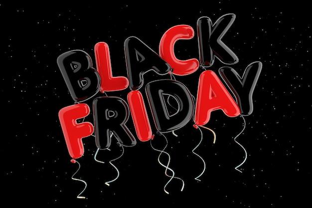 Ballon rouge et noir black friday signe sur un fond noir. rendu 3d