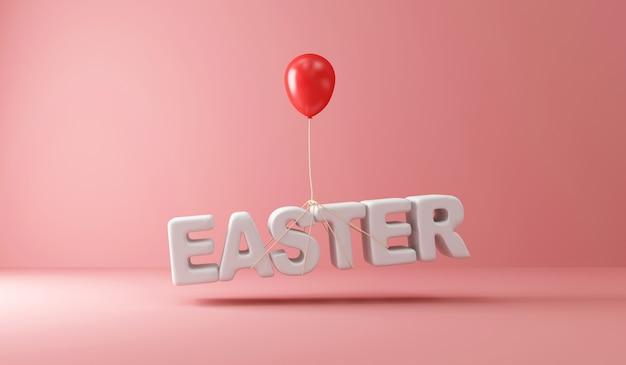 Ballon rouge soulevant le texte de pâques sur rose