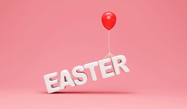 Ballon rouge soulève le texte de pâques sur rose
