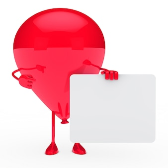 Ballon rouge tenant un signe blanc