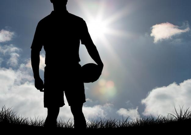 Ballon de rugby joueur heureux élégant doigt
