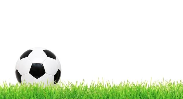 Ballon de soccer sur aire de jeux verte. notion de football