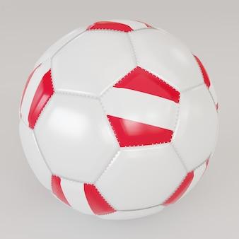 Ballon de soccer blanc avec le drapeau de l'autriche sur fond blanc