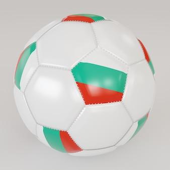 Ballon de soccer blanc avec le drapeau de la bulgarie sur fond blanc