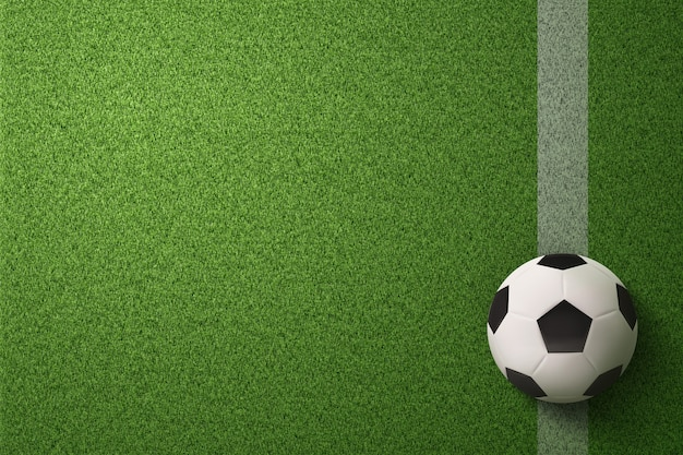 Ballon de soccer sur fond de terrain de soccer