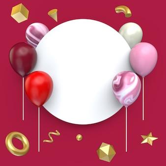 Ballon avec style de bannière vierge et forme de géométrie d'or, illustration 3d.