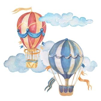 Ballon de transport dirigeable illustration aquarelle transparente dessinés à la main clipart bébé mignon set grand ruban d'arbre de machine à écrire rétro vintage pour inscription photos pour pépinière