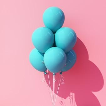 Ballon turquoise et bleu sur rose