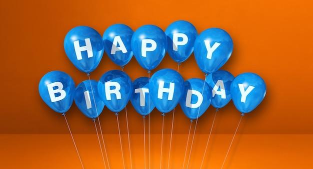 Ballons à air bleu joyeux anniversaire. citation. rendu 3d