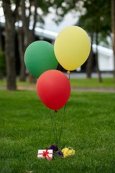 Ballons à air colorés et coffret cadeau sur l'herbe