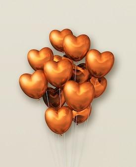 Ballons à air en forme de coeur en cuivre