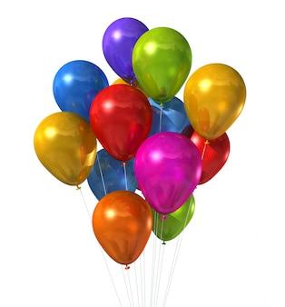 Ballons à air multicolores 3d isolés sur blanc