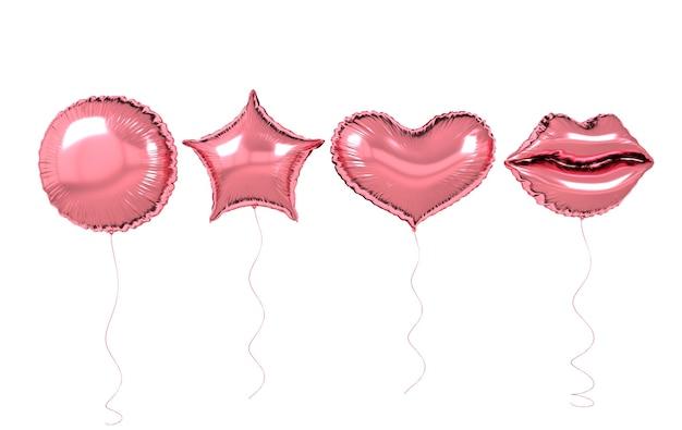 Ballons en aluminium rose isolés sur fond blanc