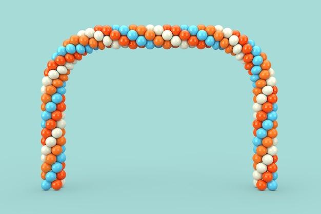Ballons blancs, bleus et orange en forme d'arc, de porte ou de portail sur fond bleu. rendu 3d