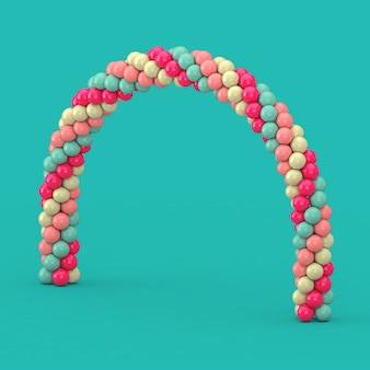 Ballons blancs, bleus et roses en forme d'arc, de porte ou de portail sur fond vert. rendu 3d