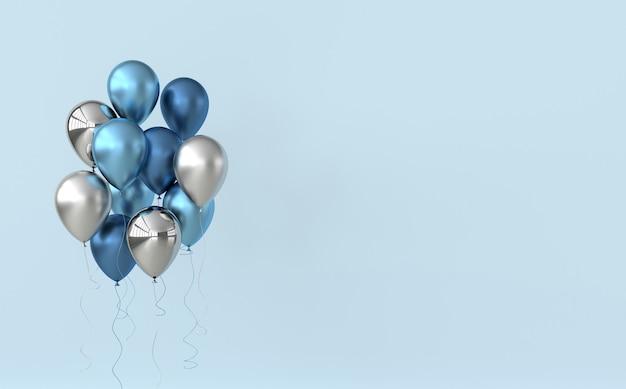 Ballons bleus et argentés