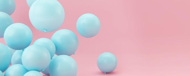 Ballons bleus sur fond rose pastel.