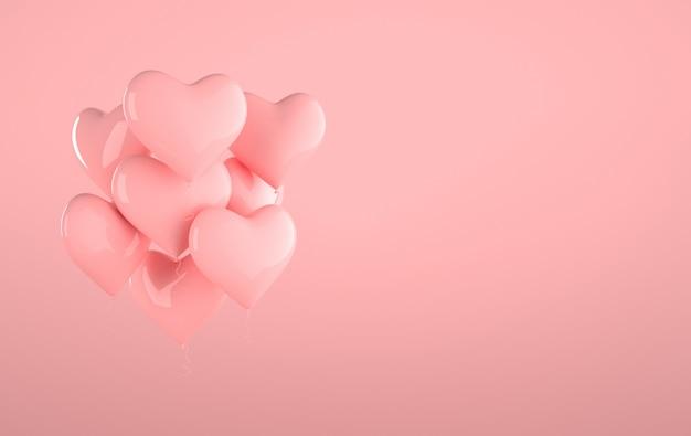 Ballons brillants brillants roses, forme de coeur sur fond rose pastel avec effet de réflexion