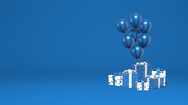 Des ballons brillants et un tas de coffrets cadeaux. décoration vacances, présentation, promotion. scène abstraite minimale élégante. couleur bleu classique tendance. rendu 3d