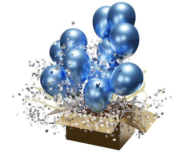 Ballons avec coffrets cadeaux rendu 3d séparément sur fond blanc avec chemin de détourage