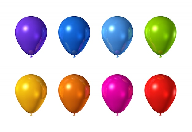Ballons colorés isolés sur blanc
