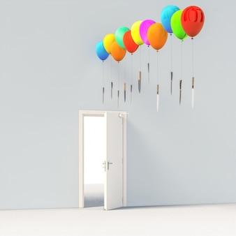 Ballons colorés tenant des couteaux tranchants au-dessus d'une porte ouverte.