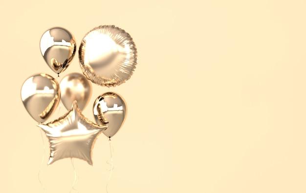 Ballons dorés isolés sur beige