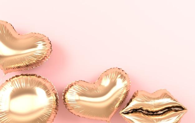 Ballons dorés isolés sur rendu rose