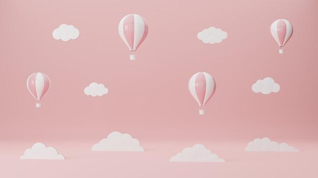 Des ballons flottent dans le ciel rose. voyages aériens et avions. concept de tourisme. illustration de rendu 3d.