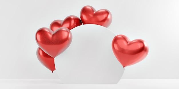 Ballons en forme de coeurs rouges romantiques derrière un stand rond sur un fond blanc isolé.